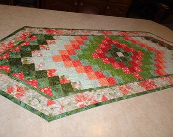 Poinsettia Trip Around the World  Patchwork Table Runner