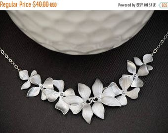SALE - Silver Orchid Flower Necklace, Orchid Necklace, Bridal Wedding Jewelry, Maid of Honor, Bridesmaid Jewelry, Mothers Necklace