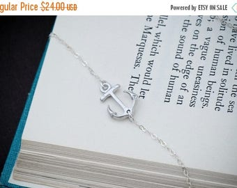 SALE - Sideways Anchor Necklace, SILVER Anchor Jewelry, Navy Necklace, Nautical Jewelry, Dainty Necklace