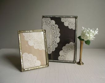 Ornate Metal Photo Frames , Gold Tone with Faux Mother-of-Pearl , Set of 2 Vintage Frames , Old Hollywood Decor , Vintage Wedding Decor