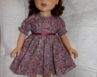 Pink paisley floral dress for 18 inch dolls - ag300