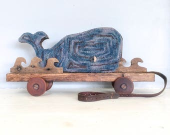 Primitive Whale Home Decor Rustic Hooked Pull Toy