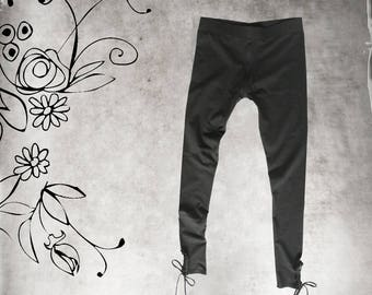 Legging black women/lace keyhole bottom/Spaghetti tie bow