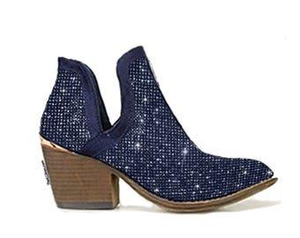 Custom Dark Blue Ankle Boots,Custom Swarovski Boots,Pumps customed with Swarovski ,Custom Bedazzled High Heel,Swarovski Pumps, Boots