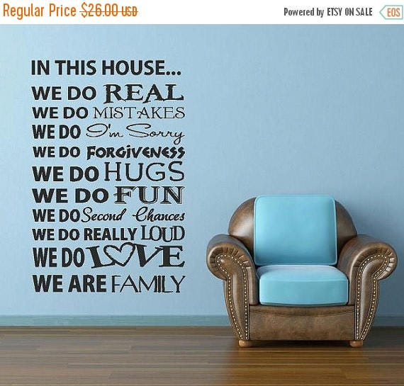 20% OFF In This House -Vinyl Lettering custom removable decal  family wall words graphics Home decor itswritteninvinyl