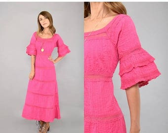 SUMMER SALE 70's Pink Mexican Dress