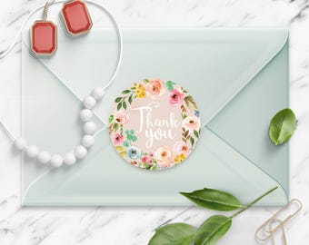 Thank You stickers, Vintage Pale Pink Floral Watercolor Wreath, Round Cut Sticker for Etsy Sellers, Wedding, Party, Matte Lamination Finish,