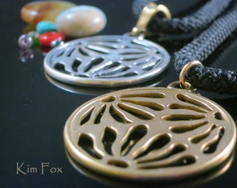 Round Asian Style Pendant of three pierced flower pattern designed by Kim Fox in Sterling Silver or Golden Bronze - Based on Japanese MON