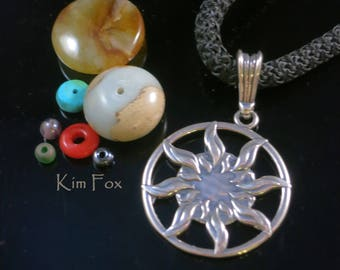 Smaller Sun Dance Pendant - round 1 1/8inch two sided pendant with large bail in silver by Kim Fox