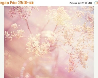 Nature Photography: A Good Morning Fine Art Photography Baby's Breath Print, Pink flower photography, Still life Photography