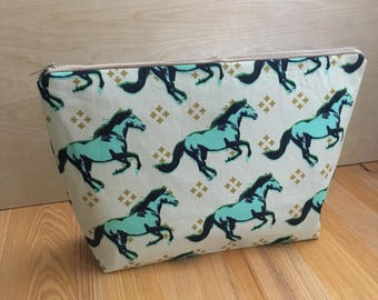 Wild horses knitting project bag