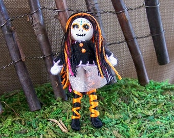 2.5 inch tiny pocket bendy doll, dollhouse doll, miniature, ooak doll, handmade doll, hand-painted, Halloween, Day of the Dead, skeleton