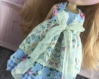 Blythe Vintage Lace Dress - Blue Gingham and Floral