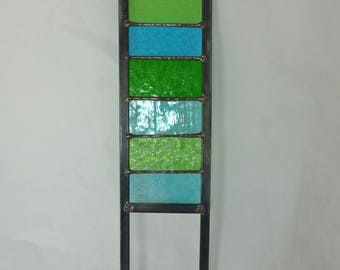 Stained Glass Garden Ornament / Architectural Panel in Turquoise and Greens – 57 x 11.75 cm