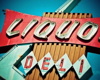Beverly Mart Liquor Sign | Mid Century Modern Art | Neon Sign Print | Retro Kitchen Decor | Googie Wall Art | Retro Roadside | Neon Sign Art