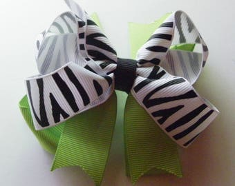 Apple Green & Zebra Hair Bow   1104