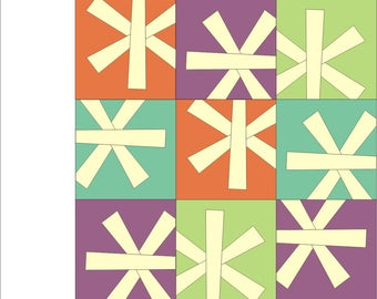 Liberated asterisk Paper pieced Pattern quilt block  INSTANT DOWNLOAD PDF