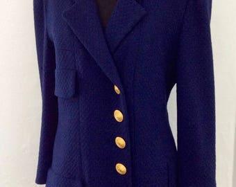 Vintage Chanel/CHANEL Skirt Suit/Chanel Blue Skirt Suit/Chanel Texture Wool Jacket and Skirt