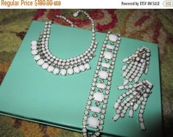 Luminous WEISS-Signed Vintage WHITE MILK Glass & Sparkling Clear Rhinestone Necklace, Bracelet, Dangle/Drop Earrings - Parure