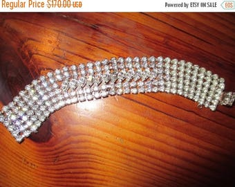 """Majestic Signed WEISS 5-Row, 1"""" Wide MARQUIS & CHATON Rhinestone Vintage Bracelet - Exquisite"""