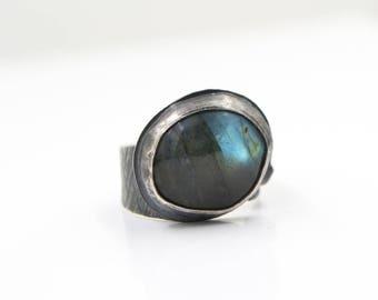 Labradorite - Rose Quartz - Hammered Sterling Silver -  Ring