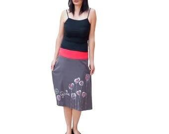 Grey mid-length skirt jerey handpainted, fancy skirt