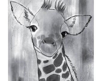 12x16 Inch Nursery Print - Giraffe, Grey