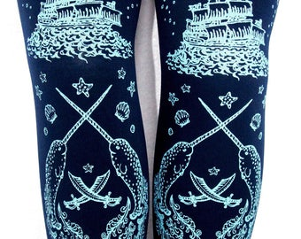 Pastel Pirate Tights Narwhals Small Medium Light Blue on Navy Blue Women's Tattoo Sailor Nautical Lolita Vintage Fashion