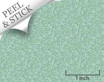 Quarter Scale Wallpaper-Peel and Stick-Tendril, Turquoise