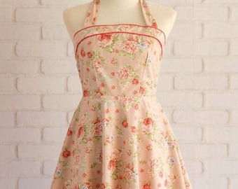 Flash SALE Floral dress pink dress floral party dress halter dress pink bridesmaid dresses floral bridesmaid dresses halter party dress flor
