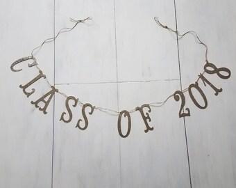 Class of 2018 Glitter Banner, High School Graduation, College Graduation, Graduation Party Decor, Congrats Grad Banner, Graduation Banner