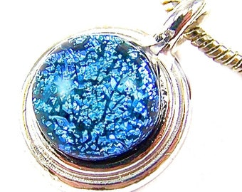 "Dichroic Pendant - Turquoise Cyan Blue Dichro Fused Glass Silver Plated - 1/4"" 6mm Dicro Nugget"