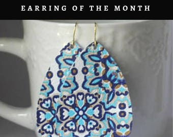 Moroccan Blue Leather Teardrop Drop Earrings
