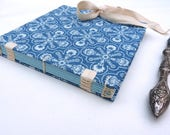 Indigo journal, handmade notebook, coton fabric journal, lined, blue, snowflake, coptic, tapes, recycled, fabric