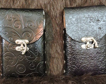 Customizable Flask or Cell Phone Pouch, Leather Pouch, Steampunk, LARP, Motorcycle, Everyday, Handmade, Leather, USA MADE