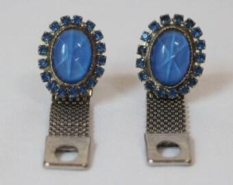 Vintage Blue Rhinestone Silver Tone Cuff links by Swank.