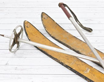 Vintage Snow Skis Ski Boots And Ski Poles Snow Skis 1950's Antique Snow Skis Old Wood Snow Skis Cabin Decor Ski Lodge Decor Rustic Snow Skis