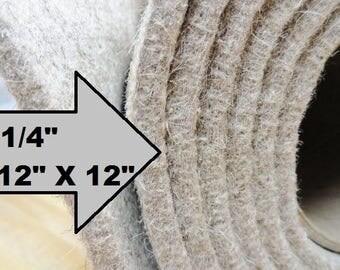 "Eco Felt Slipper Insole, 100% Eco Wool Insoles, Shoe Making Supplies, Slipper Supplies, 12 X 12 Insole Sheets, 1/4"" Felt"
