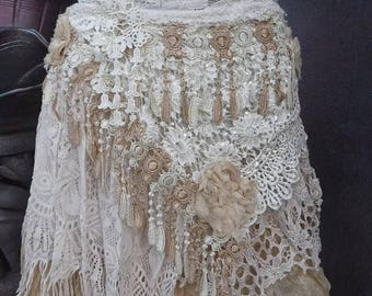 20%OFF wedding,tattered skirt, boho, mori girl, stevie nicks, bohemian skirt, gypsy skirt, white lace skirt, bellydance, wrap skirt,s/ m
