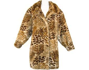 Faux Fur Coat, Luxurious Animal Print, Niedieck, Germany, Vintage 1980s