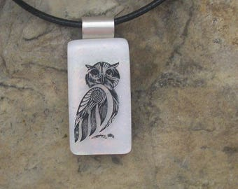 Owl Pendant Dichroic Fused Glass Owl Necklace