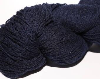KAUNI Undyed Wool Yarn, Dark Blue, Worsted Weight 8/2  2ply, 100% wool