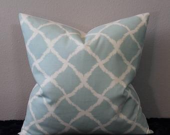 "IMAN Togo in Vapor/Sea Foam Green/Aqua and Ivory - 18"", 20"", 22"" or 24"" Square - Decorative Designer Pillow Cover"