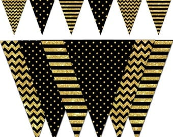 Happy New Year Banner, Black and Gold Printable Banner, New Year Party Pennant Banner, Graduation, Birthday - Instant Download - DP505