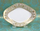 Wedgwood Relish Dish, Florentine Gold Pattern, Vintage Serving Dish, Bone China, Formal China, c1960s, Vintage China & Ceramics