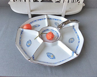 French Art Deco  Style LIMOGES Cake Stand, Snakes Server French LIMOGES Porcelain 1940s, Cottage chic