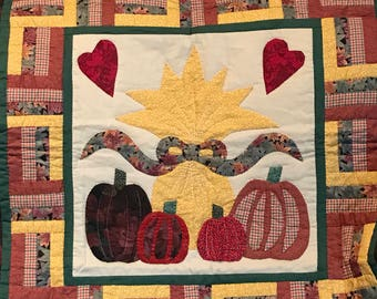 Beautiful Harvest Themed quilted wall hanging measures 29.5 x 30