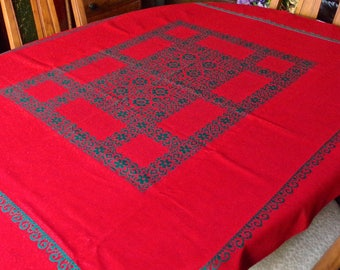 Vintage Tablecloth Red and Green German Made Rectangular 1970s