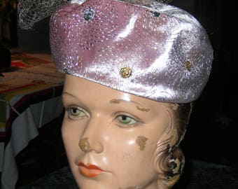 Vintage 60's Pale Pink Velvet Pill Box Hat with Gold & Silver Thread + Netting