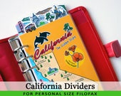 Personal Size Cute Kawaii California DIY Dividers 5 Top Tabs for Filofax Organizer Planner Printable PDF Instant Download